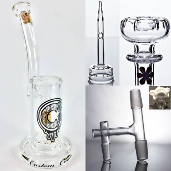 C2 Custom Creations Glass Dabbing Rig and Quartz Domeless Nail Bundle