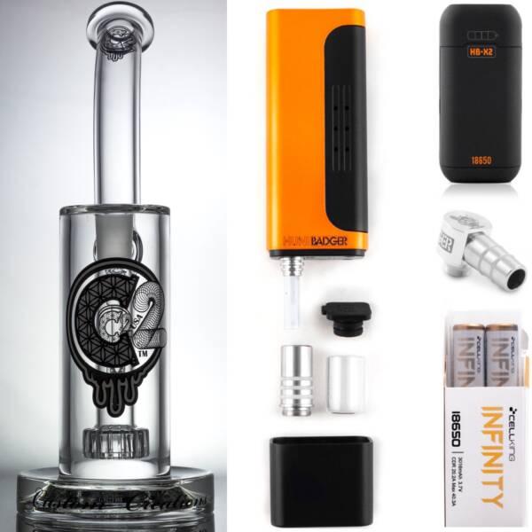 Huni Badger Portable Dab Rig (White) + C2 Custom Creations Glass BRB1 Dab Rig + Huni Badger Charger + Huni Badger 90 Degree Adapter + Battery 2 Pack Enail Combo Kit