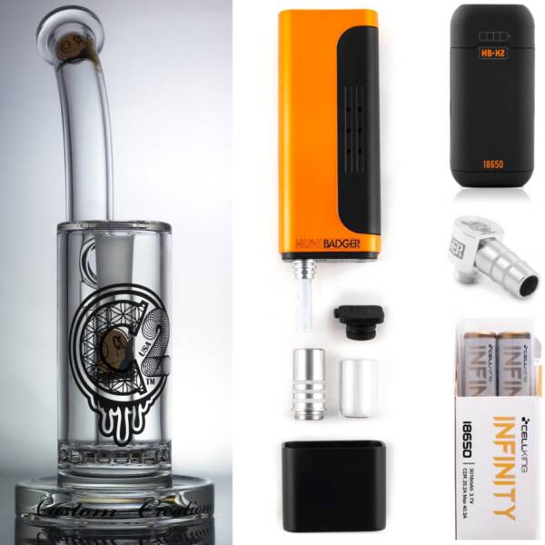 Huni Badger Portable Dab Rig (Calico Orange) + C2 Custom Creations Glass BRB50 Dab Rig + Huni Badger Charger + Huni Badger 90 Degree Adapter + Battery 2 Pack Enail Combo Kit