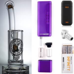 Huni Badger Portable Dab Rig (Candy Purple) + C2 Custom Creations Glass BRB50 Dab Rig + Huni Badger Charger + Huni Badger 90 Degree Adapter + Battery 2 Pack Enail Combo Kit