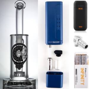 Huni Badger Portable Dab Rig (Royal Blue) + C2 Custom Creations Glass BRB1 Dab Rig + Huni Badger Charger + Huni Badger 90 Degree Adapter + Battery 2 Pack Enail Combo Kit