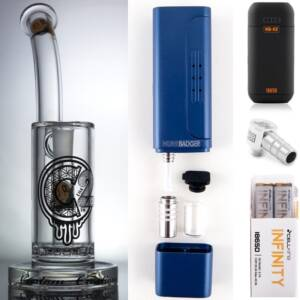 Huni Badger Portable Dab Rig (Royal Blue) + C2 Custom Creations Glass BRB50 Dab Rig + Huni Badger Charger + Huni Badger 90 Degree Adapter + Battery 2 Pack Enail Combo Kit