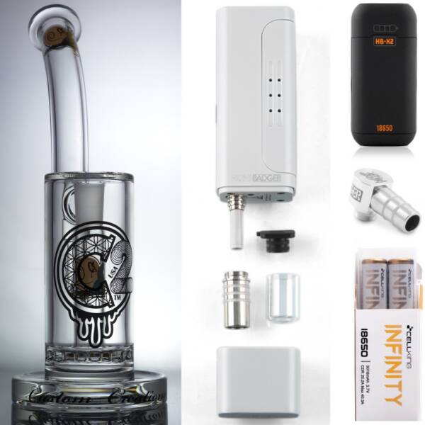 Huni Badger Portable Dab Rig (White) + C2 Custom Creations Glass BRB50 Dab Rig + Huni Badger Charger + Huni Badger 90 Degree Adapter + Battery 2 Pack Enail Combo Kit