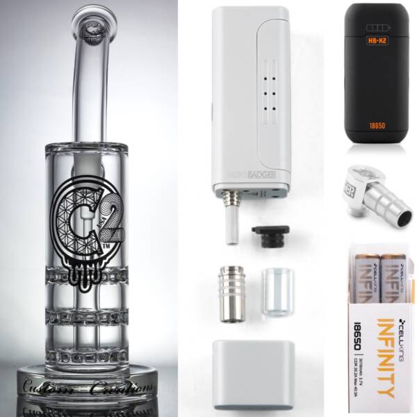 Huni Badger Portable Dab Rig (White) + C2 Custom Creations Glass BRB50 TR Dab Rig + Huni Badger Charger + Huni Badger 90 Degree Adapter + Battery 2 Pack Enail Combo Kit