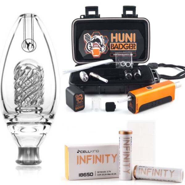 Huni Badger Portable Enail + Nectar Collector Delux Honeybird Glass Bubbler + Battery 2-Pack Kit (Calico)