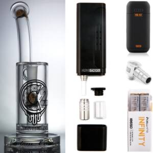 Huni Badger Portable Dab Rig (Black) + C2 Custom Creations Glass BRB50 Dab Rig + Huni Badger Charger + Huni Badger 90 Degree Adapter + Battery 2 Pack Enail Combo Kit