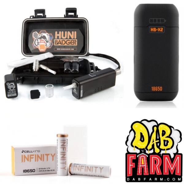Huni Badger Portable Enail Dab Rig + Huni Badger Charger + Huni Badger Battery 2-Pack Dabbing Bundle - Black