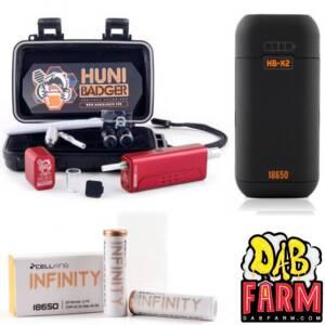 Huni Badger Portable Enail Dab Rig + Huni Badger Charger + Huni Badger Battery 2-Pack Dabbing Bundle - Crimson Red